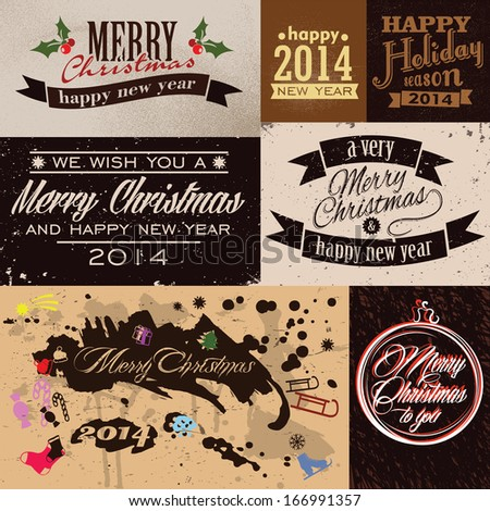 Merry Christmas and Happy New Year Greeting Cards - stock vector