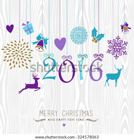 Merry Christmas and Happy New Year 2016 hanging vintage xmas ornaments, hipster wood background. Ideal for holiday party invitation or greeting card. EPS10 vector. - stock vector