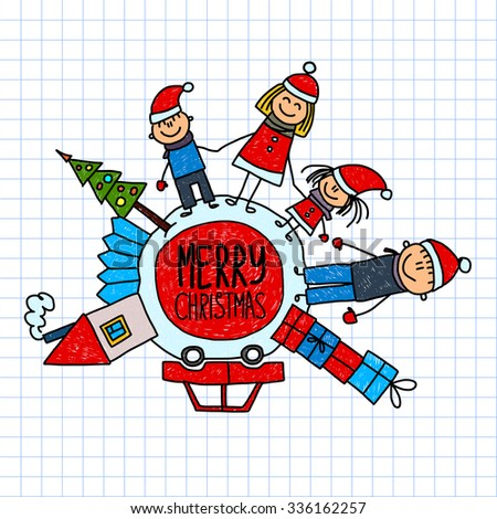 Merry christmas and happy new year Happy family with their house and car - stock vector
