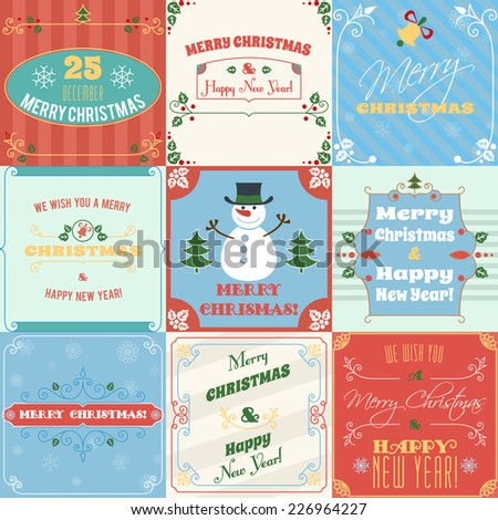 Merry christmas and happy new year holiday decoration greetings cards set isolated vector illustration - stock vector