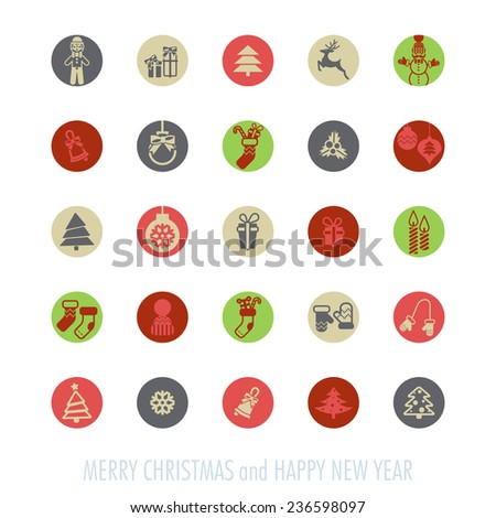Merry Christmas and Happy New Year Icons Set. Vector illustration. Eps 10 - stock vector