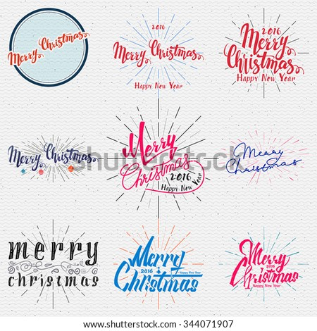 Merry christmas  and happy new year 2016 insignia  and labels for any use - stock vector