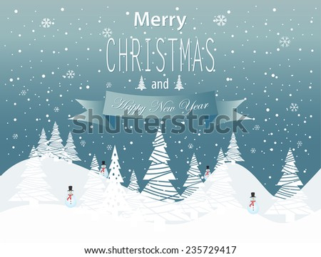 Merry Christmas and Happy New Year landscape on blue background. Vector illustration.  - stock vector