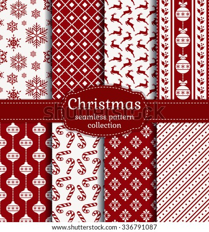 Merry Christmas and Happy New Year! Red and white seamless backgrounds with traditional holiday symbols: christmas ball, deer, snowflakes, candy cane, holly and suitable abstract patterns. Vector set. - stock vector