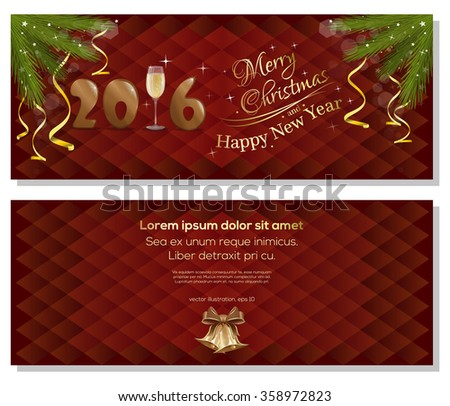 Merry Christmas and Happy New Year 2016. Red christmassy backgrounds with fir branches, ribbons, bows and jingle bells. Christmas greeting card. - stock vector