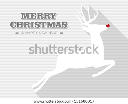 Merry Christmas and happy new year, reindeer holiday illustration. Vector layered for easy editing. - stock vector