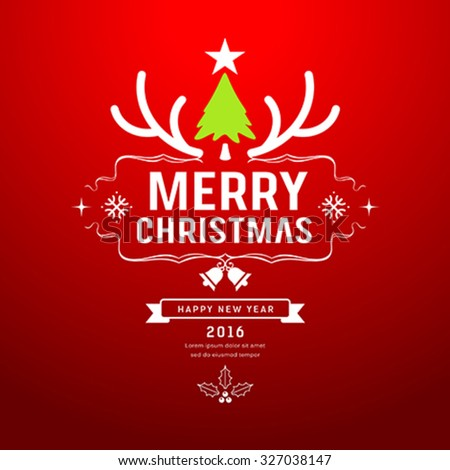 Merry Christmas and happy new year, Reindeer with christmas green tree design on red background, vector illustration - stock vector