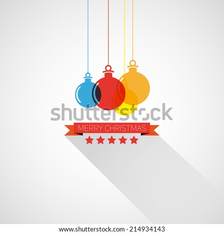 Merry Christmas and happy New Year retro stylized card with holiday xmas ball, vector frame - stock vector