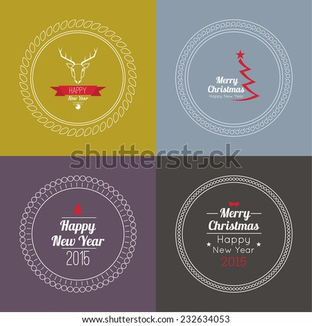 Merry Christmas and happy new year. 2015 Set of calligraphic and typographic elements, frames, vintage labels, seal, tag, banner, sticker. for postcard, invitation, poster. Decoration collection  - stock vector