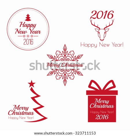 Merry Christmas and happy new year. 2016 Set of calligraphic, typographic elements, frames, vintage labels, seal, tag, banner, sticker. for postcard, invitation, poster. Decoration collection  - stock vector