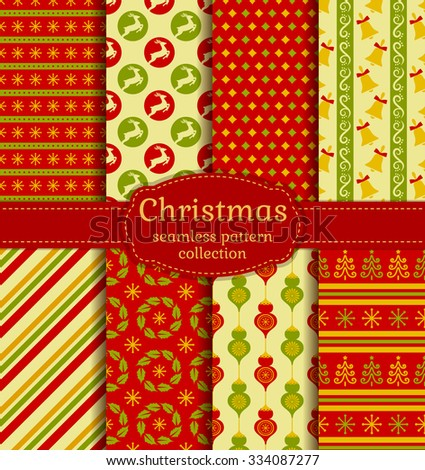 Merry Christmas and Happy New Year! Set of chic seamless backgrounds with traditional symbols: deer, christmas tree, tree ball, bells, snowflakes and suitable abstract patterns. Vector collection. - stock vector