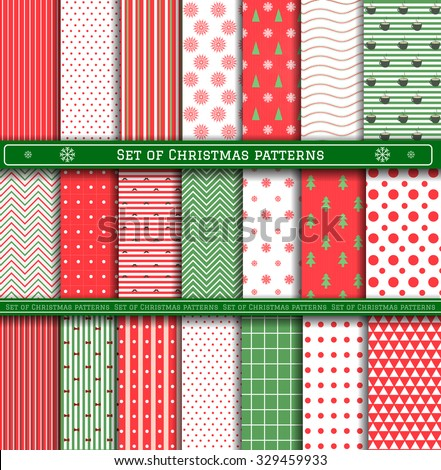 Merry Christmas and Happy New Year!  Set of Classic Christmas patterns with red, green and white colors. Vector illustration.  Big collection of 21 winter holiday backgrounds. - stock vector