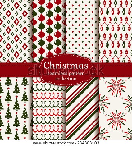 Merry Christmas and Happy New Year! Set of  holiday backgrounds. Collection of seamless patterns with red, green and white colors. Vector illustration. - stock vector