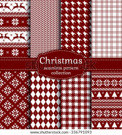 Merry Christmas and Happy New Year! Set of red and white seamless backgrounds for winter or holiday design. Warm textile patterns: argyle, plaid, norwegian and knitted patterns. Vector collection. - stock vector