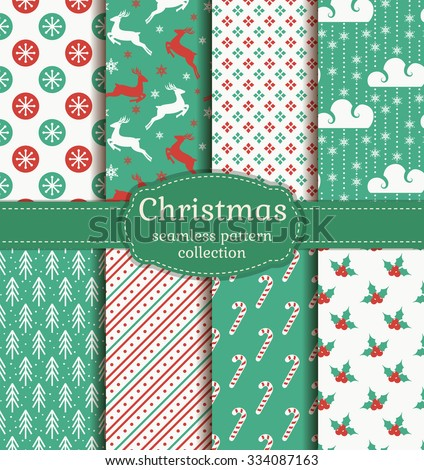 Merry Christmas and Happy New Year! Set of retro seamless backgrounds with traditional symbols: reindeer, fir-tree, holly, candy cane, snowflakes and suitable abstract patterns. Vector collection. - stock vector