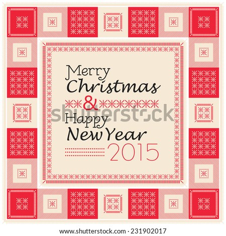 Merry Christmas and Happy New Year text composition with decorative frame in vintage style - stock vector