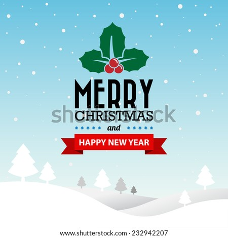 Merry Christmas and Happy New Year typographic background,Illustration eps10 - stock vector