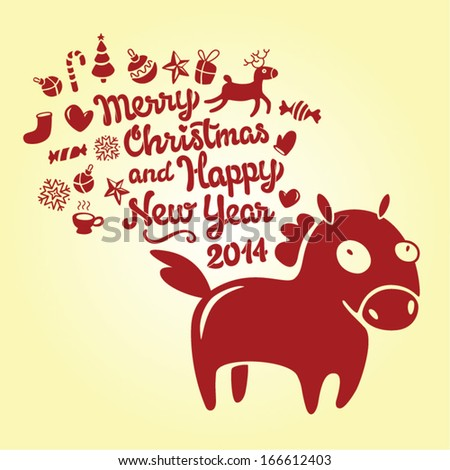 Merry Christmas And Happy New Year Vector Horse Vintage Lettering Illustration Card - stock vector