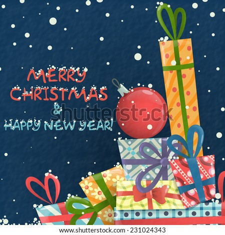 Merry Christmas And Happy New Year. Vector Illustration. Eps 10 - stock vector