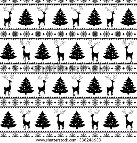 Merry Christmas and Happy New Year! Vector seamless pattern with monochrome deers, pine trees and snowflakes for winter holidays design. - stock vector
