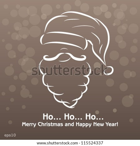 Merry Christmas and Happy New Year, vintage card - stock vector