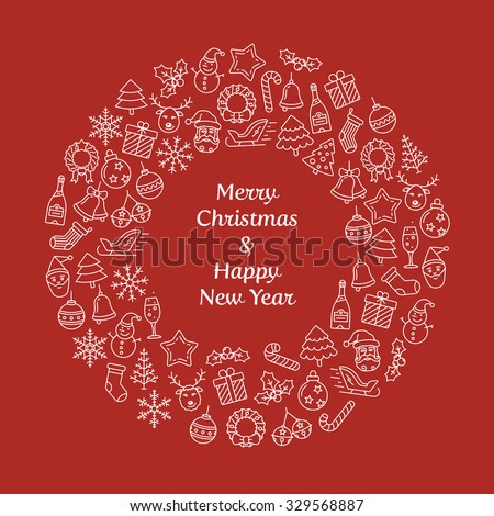Merry Christmas and Happy New Year wreath greeting card. Christmas wreath with small Christmas symbols. Vector Illustration - stock vector
