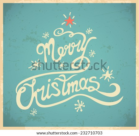 Merry christmas and lettering. Vector illustration.  - stock vector