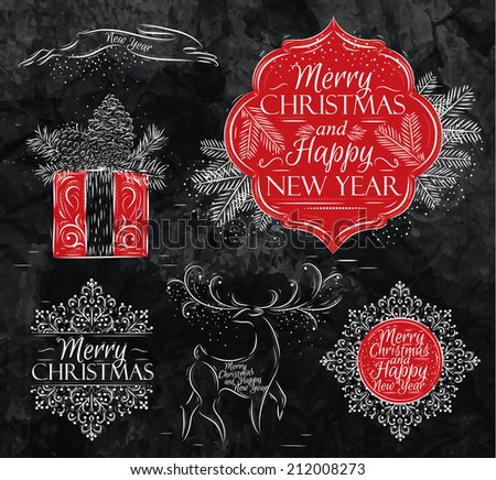 Merry Christmas and New Year collection graphics in elegant vintage style, rabbit, gift, reindeer, snowflake, sticker stylized for the drawing with chalk on the blackboard - stock vector
