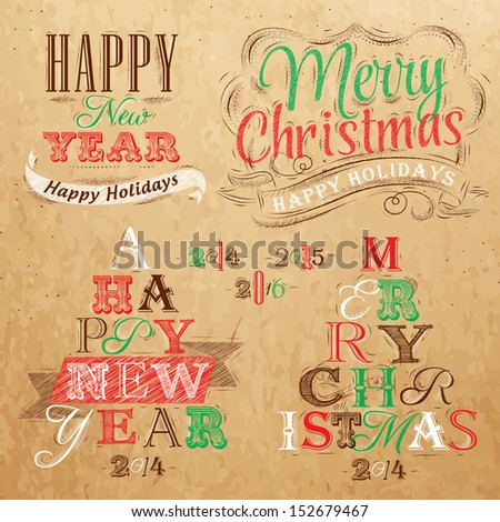 Merry Christmas and New Year lettering collection of Christmas tree from letters  stylized for the drawing on kraft paper of red, brown, green. Vector   - stock vector
