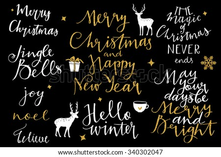 Merry Christmas and New Year 2016 lettering collection. Vector illustration set - stock vector