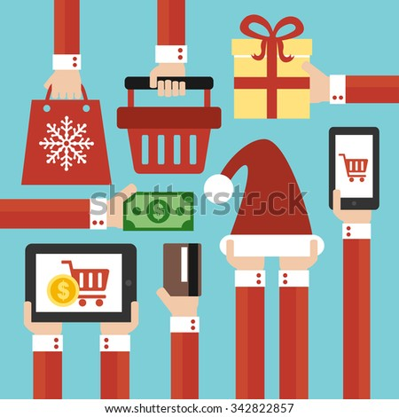 Merry Christmas and New year Sale concept modern flat design - stock vector