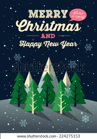 Merry Christmas and New Year winter background. Vector illustration - stock vector