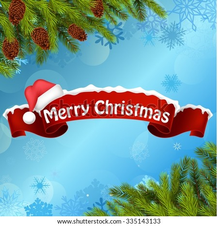 Merry christmas background banner  and christmas tree. vector - stock vector