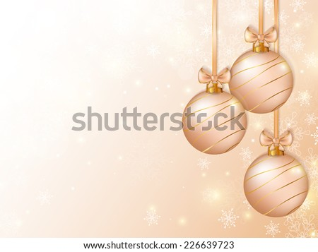 Merry Christmas! Background with christmas balls and space for text. Holiday banner. Vector illustration. - stock vector