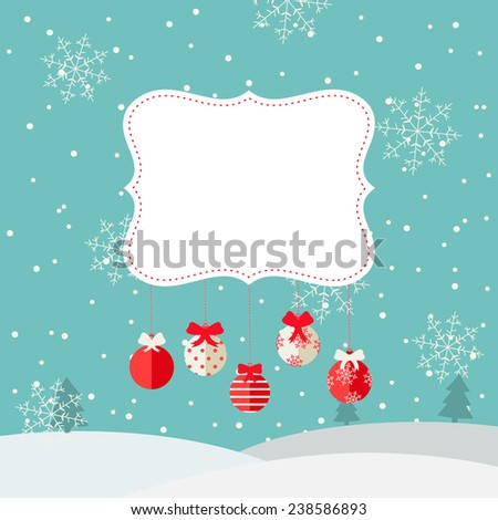 Merry Christmas background with  paper frame, winter landscape, snowfall,  hanging Christmas balls with red ribbons, vector illustration  - stock vector