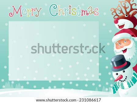 Merry Christmas background with place for your text Vector christmas background  of Santa Claus, snowman and Red-Nosed Reindeer  on winter snow landscape at retro style - stock vector