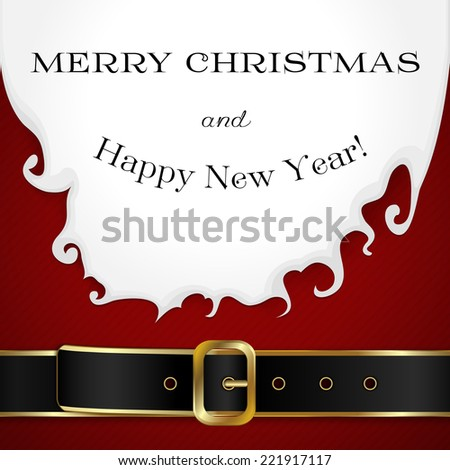 Merry Christmas background with Santa Claus beard, outfit and belt - stock vector