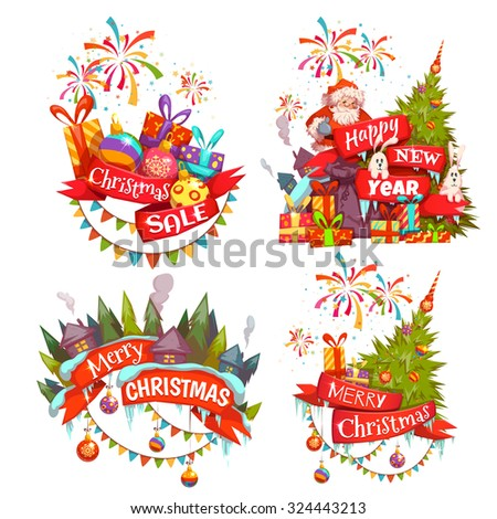 Merry Christmas banner set with Santa Claus, ribbon and pine. Vector illustration. - stock vector
