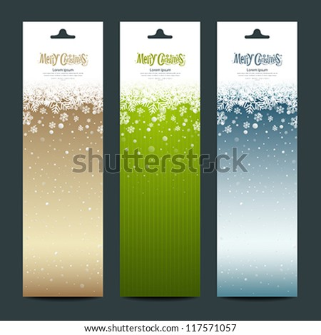 Merry Christmas banner vertical background, vector illustration - stock vector