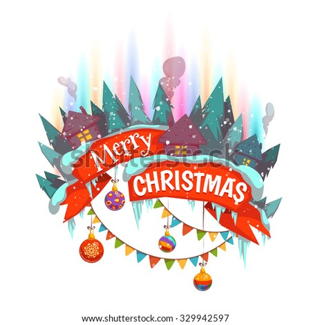 Merry Christmas banner with houses and Northern Lights. Vector illustration. - stock vector