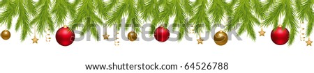 Merry Christmas Banner With New Year's Spheres, Stars, Streamer And Holly Berry, Isolated On White Background, Vector Illustration - stock vector