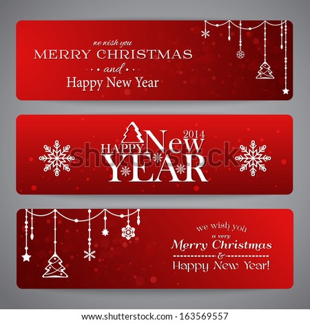 Merry Christmas banners with beads, stars and snowflakes - stock vector