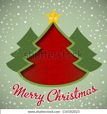 Merry Christmas card, christmas tree and snowflakes - stock vector