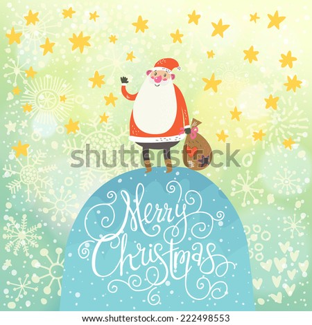 Merry Christmas card in vector.Cute funny Santa Claus with gift under snowfall made of hearts and stars - stock vector