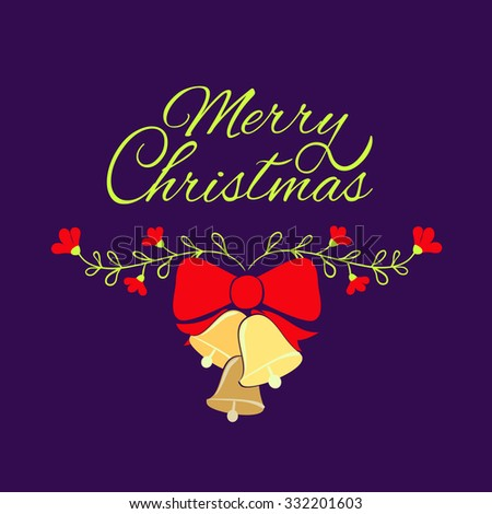 Merry Christmas card . Merry Christmas greeting card template. Vector Christmas bells. - stock vector