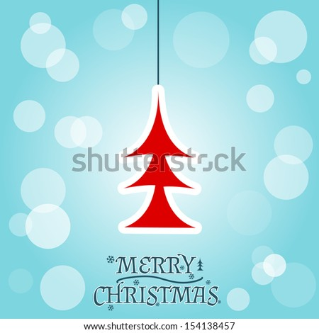 Merry Christmas card with a red fir-tree. Vector illustration - stock vector