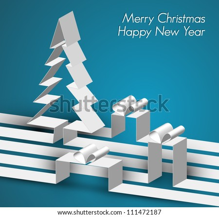 Merry Christmas card with a white tree made from paper stripes - stock vector