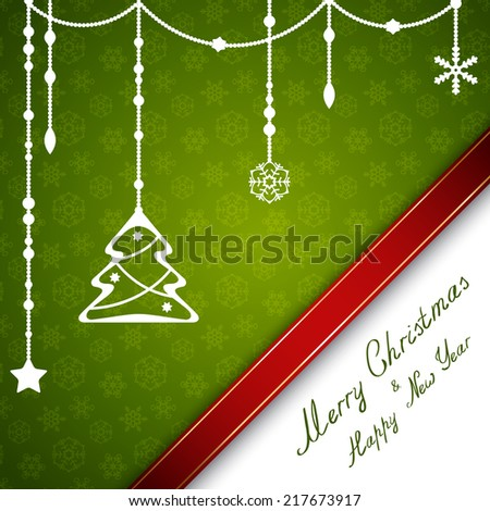 Merry Christmas card with beads, stars and snowflakes - stock vector