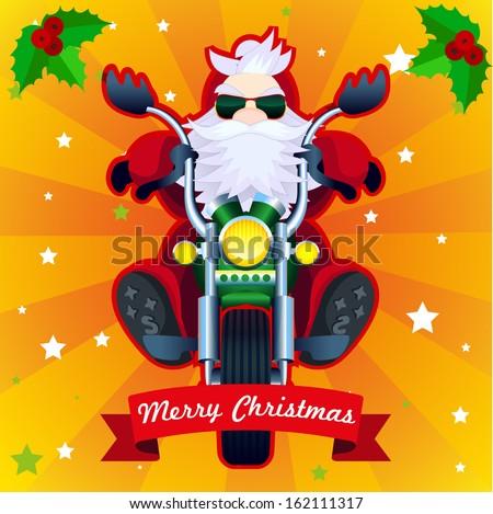Merry Christmas card with biker Santa in vector - stock vector