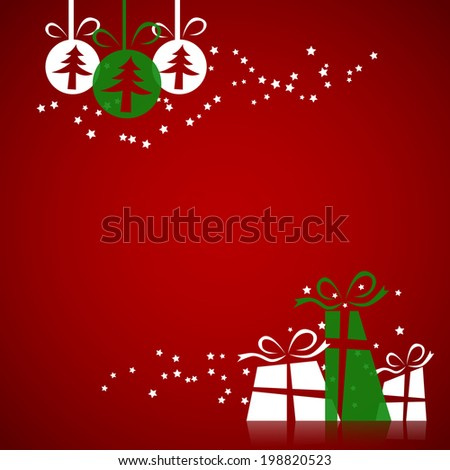 Merry Christmas card with Christmas balls and gift, happy New Year and merry xmas concept. Vector Illustration - stock vector